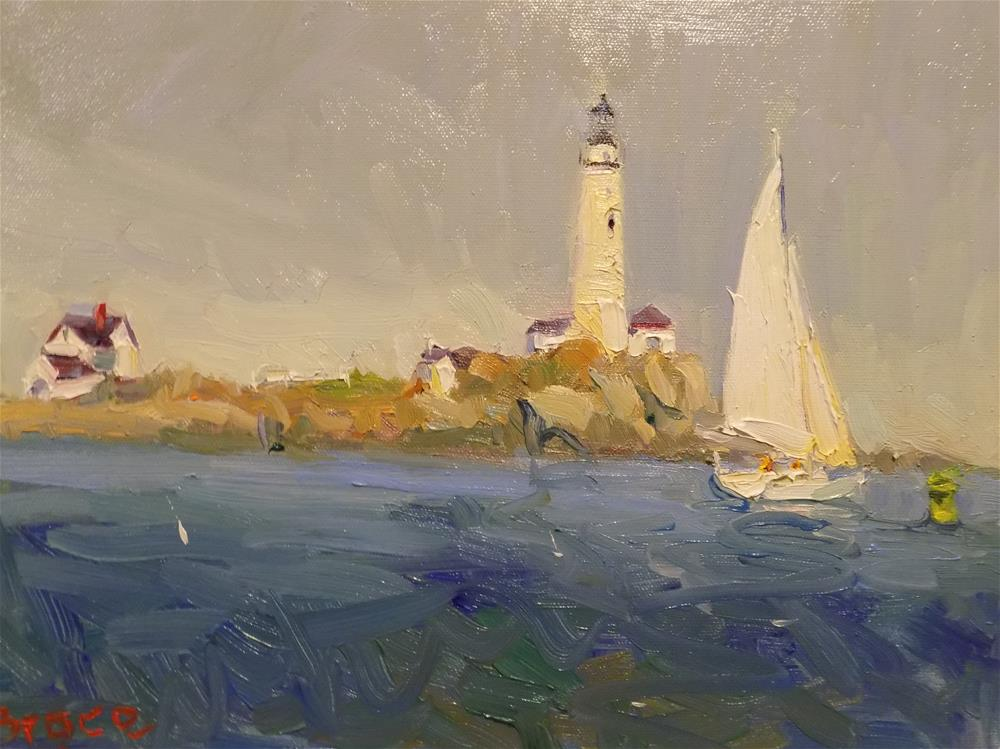 """Boston Lighthouse"" original fine art by Rita Brace"