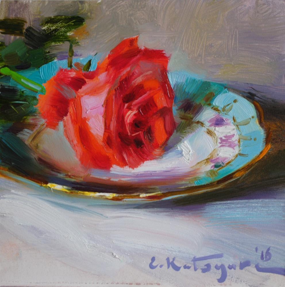 """Rose on a Plate"" original fine art by Elena Katsyura"