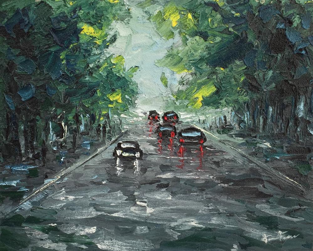 """Rainy Day In The Park"" original fine art by Ken Fraser"