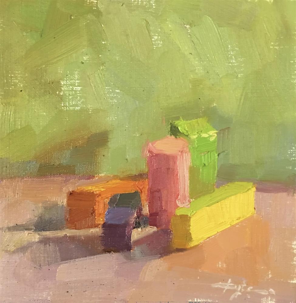 """Blocks on Green"" original fine art by Katia Kyte"
