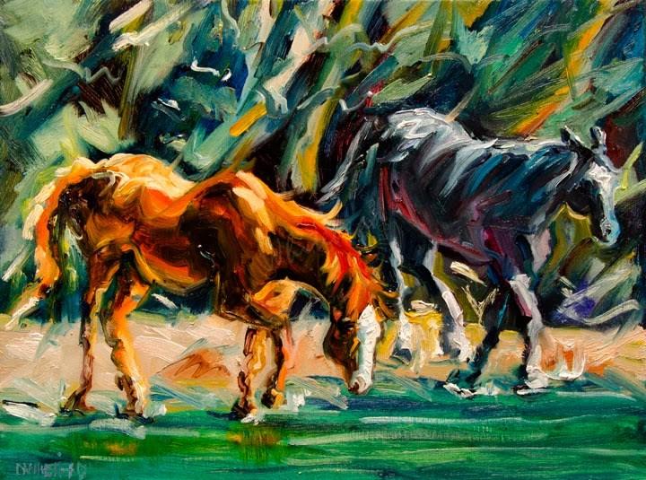 """ARTOUTWEST OIL PAINTING Horse stream Animal Art by Diane Whitehead"" original fine art by Diane Whitehead"
