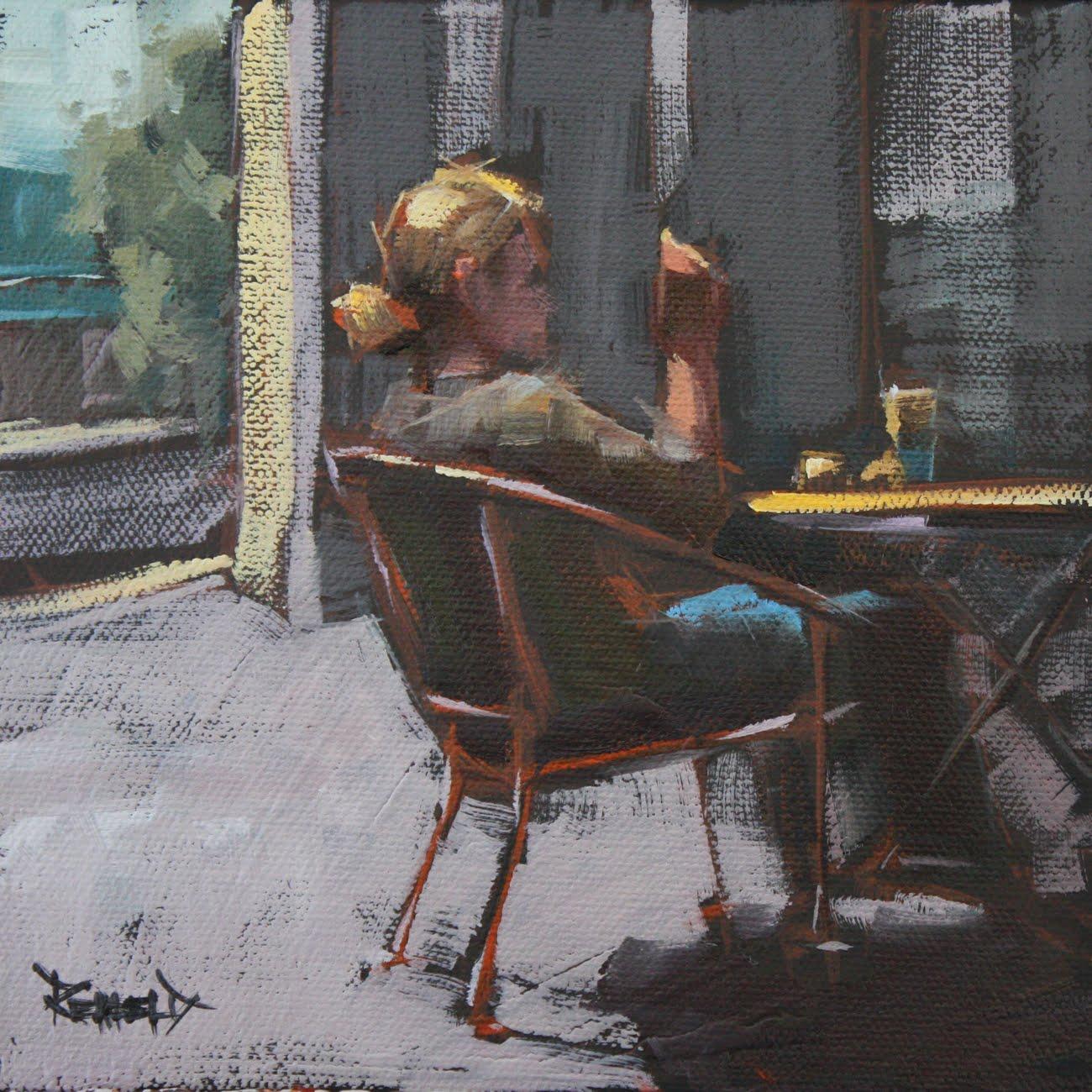 """""""People Watching"""" original fine art by Cathleen Rehfeld"""