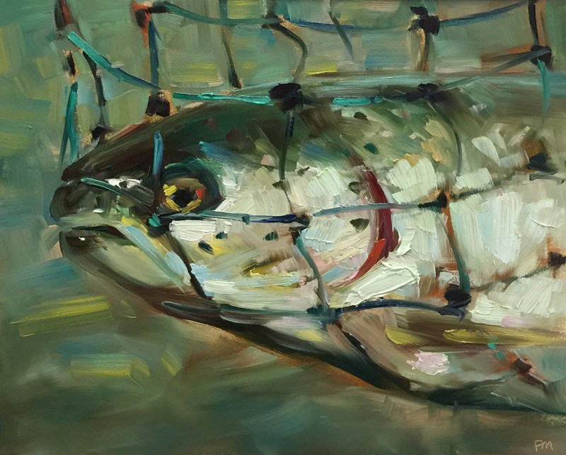 """A Fish in the Net is Worth two in the McKenzie River"" original fine art by Patti McNutt"