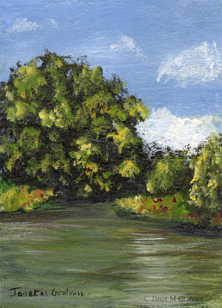 """Summer River No 2 ACEO"" original fine art by Janet Graham"
