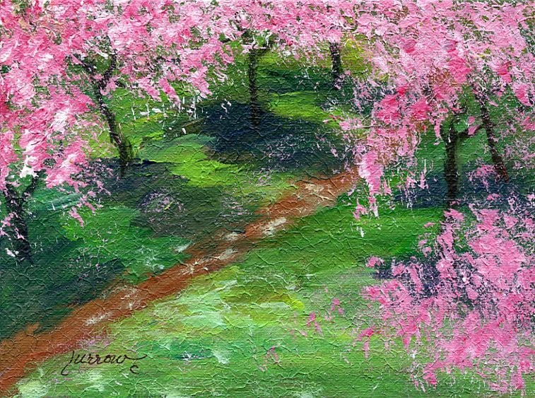 """ORIGINAL PAINTING   PLEIN AIR IN SALEM   CHERRY TREES IN SPRING DRESSES"" original fine art by Sue Furrow"