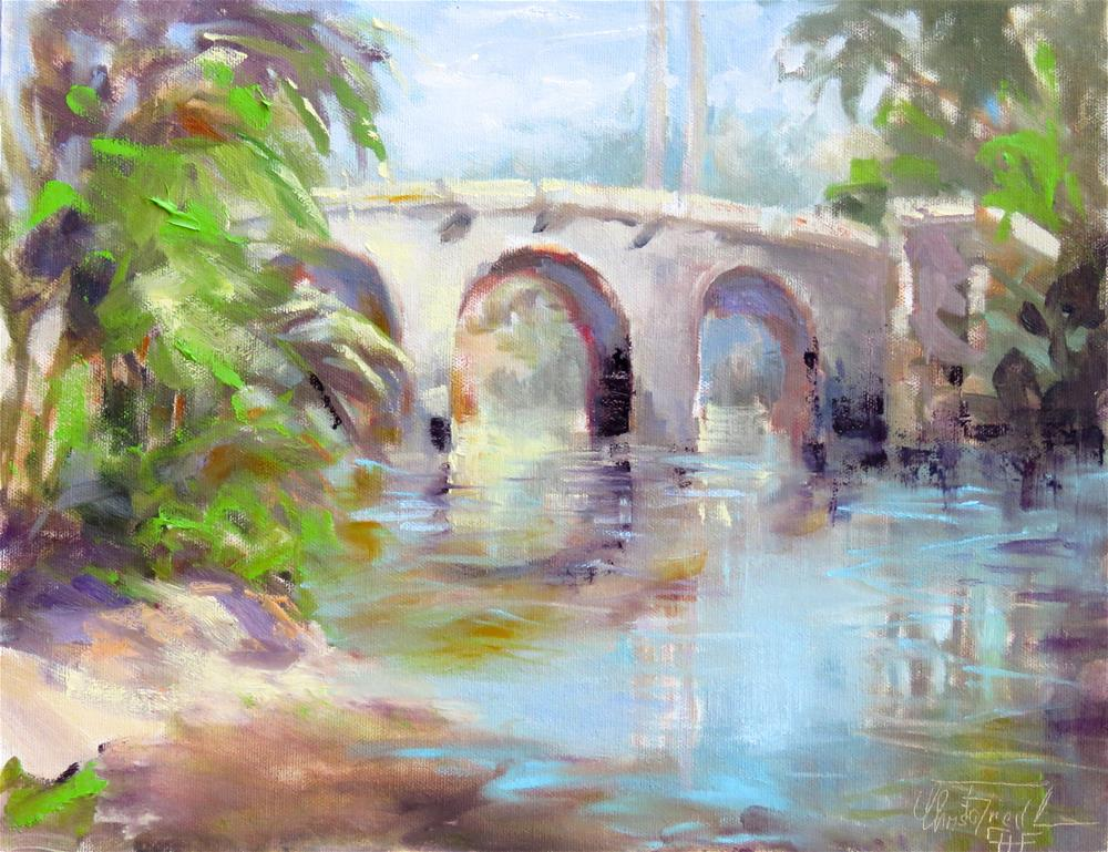 """Bridge over the Peace River"" original fine art by Christa Friedl"