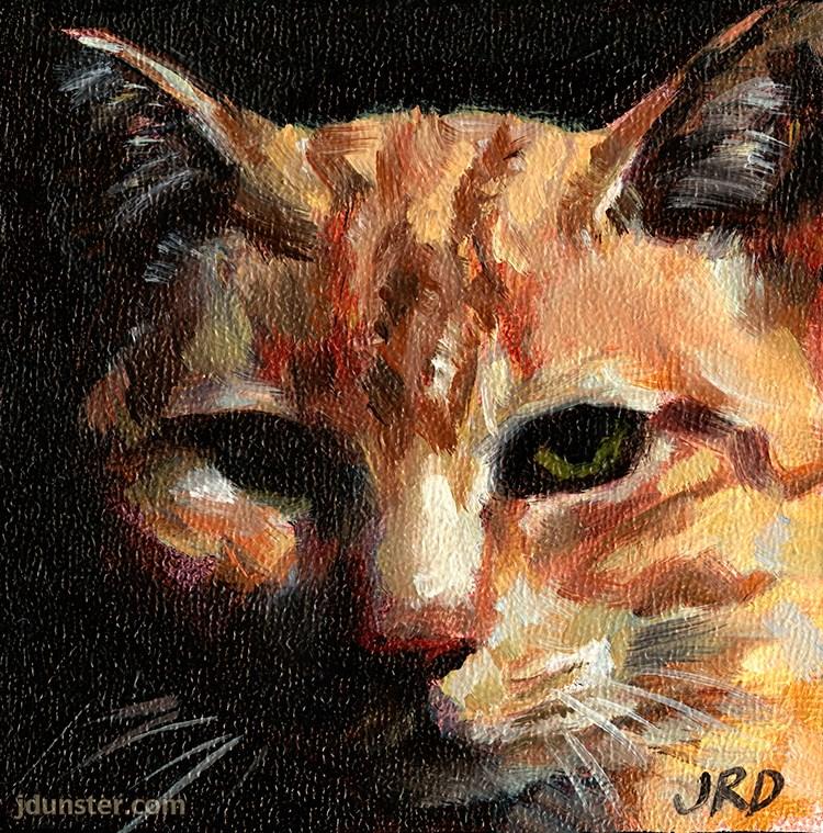 """""""Barn Cat Head"""" original fine art by J. Dunster"""