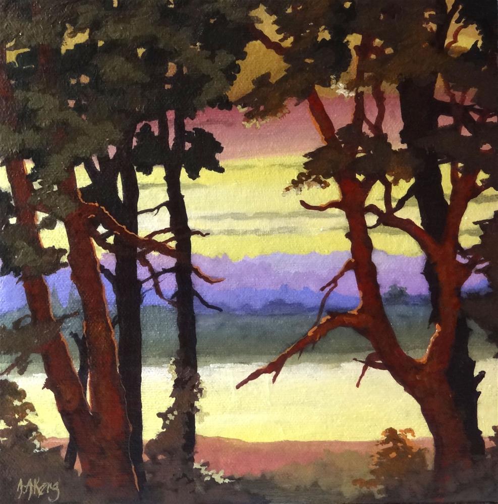 """Moorcroft Musings Lakeside Twilight Two"" original fine art by Alida Akers"