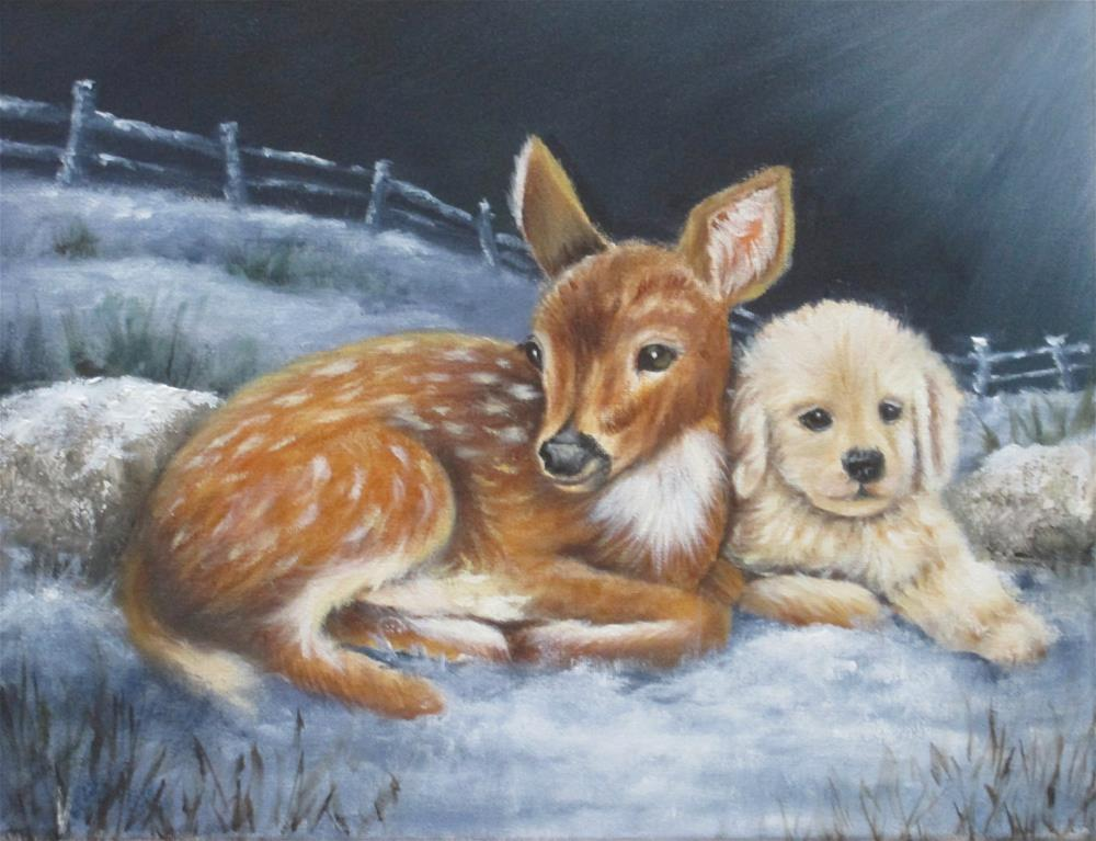 """Fawn and Puppy"" original fine art by Barbara Wagner"
