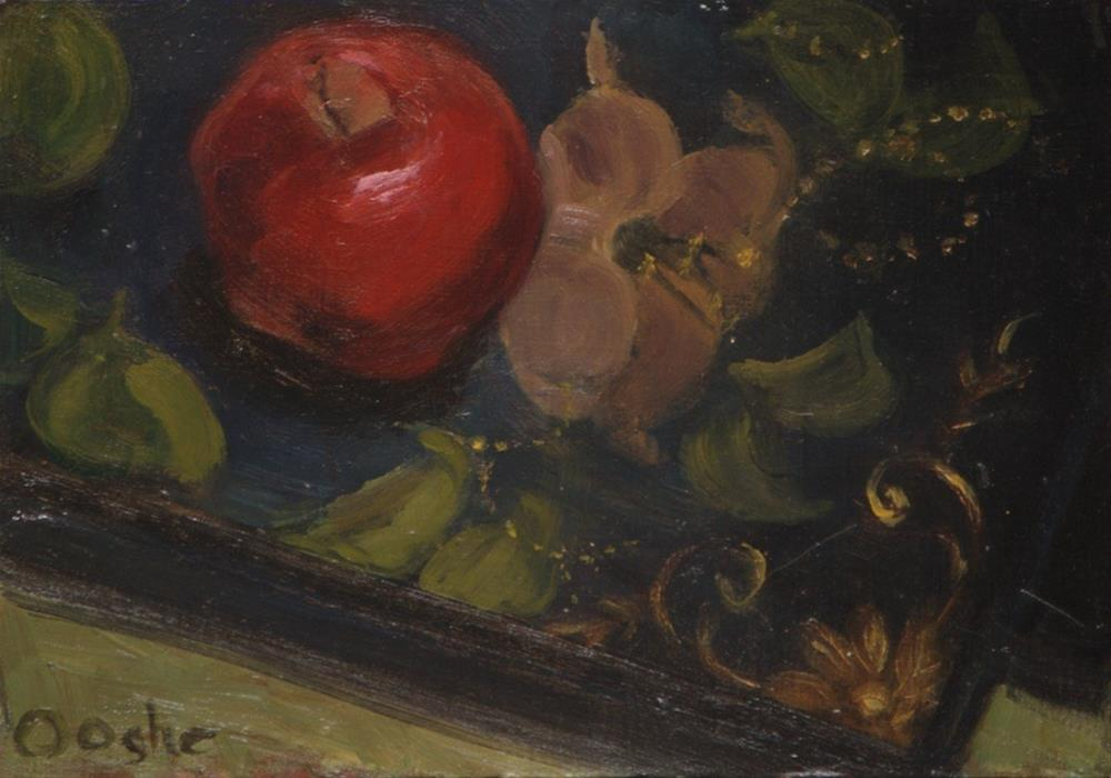 """""""Apple on a Painted Tray"""" original fine art by Angela Ooghe"""