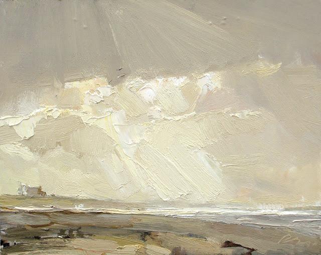"""""""Seascape autumn #22 Light"""" original fine art by Roos Schuring"""