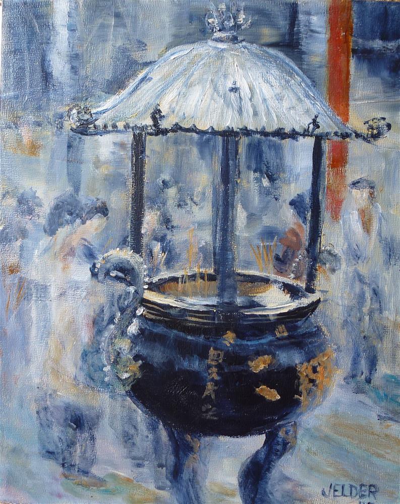 """Lungshan Temple"" original fine art by Judith Elder"