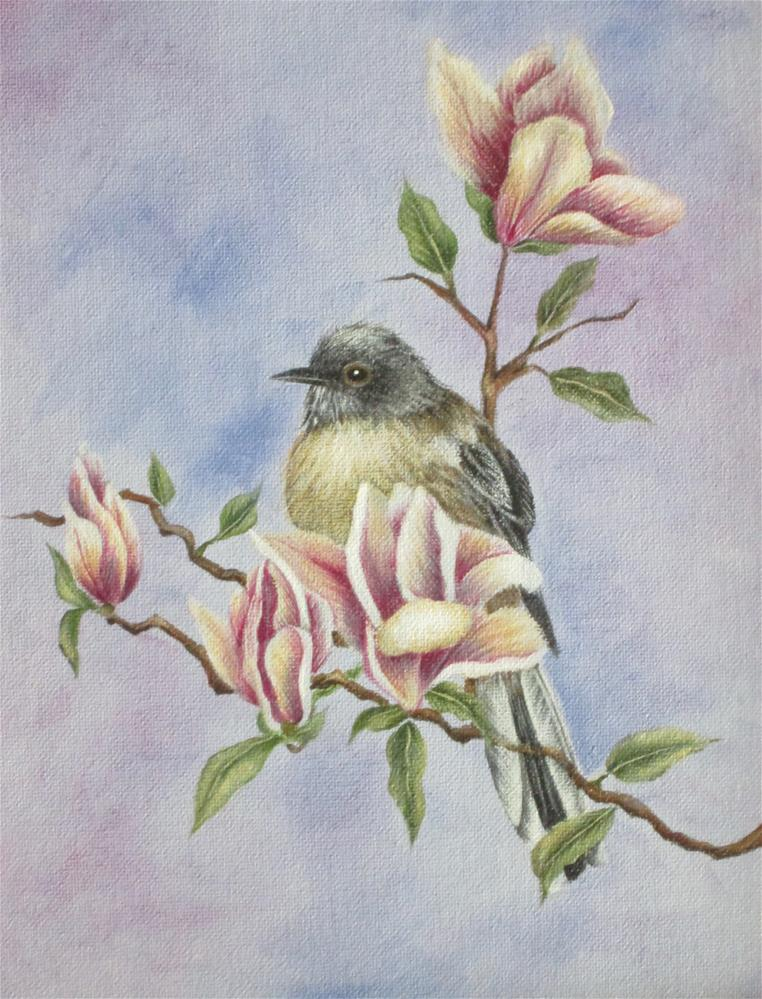"""Mockingbird and Magnolias"" original fine art by Barbara Wagner"