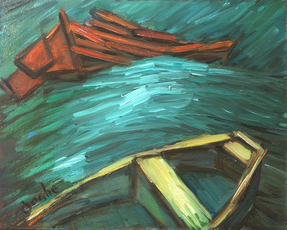 """""""Small boats on Rolling Waves"""" original fine art by Angela Ooghe"""