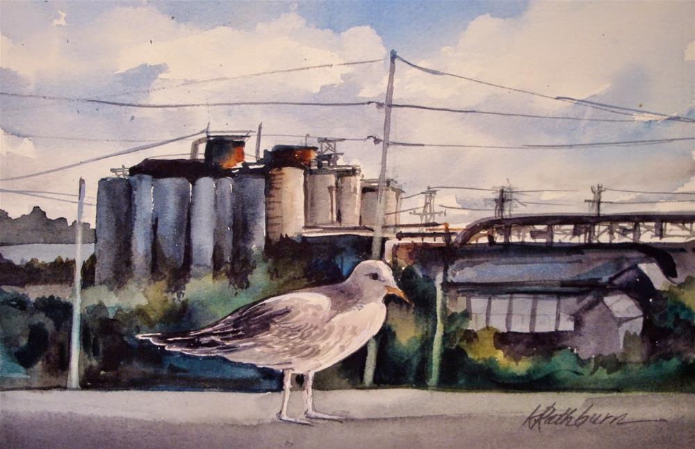 """Industry-Bird's Eye View"" original fine art by Kathy Los-Rathburn"