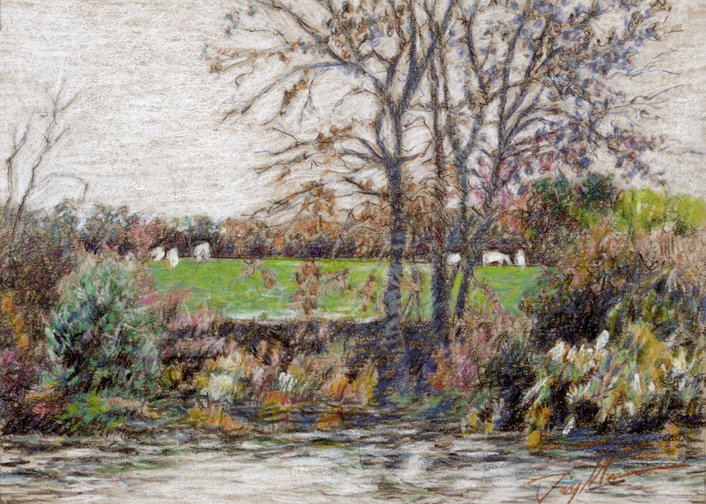 """""""Pasture Beside the River (pencil sketch)"""" original fine art by Mike Daymon"""