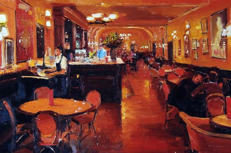 """""""Cafe Rogue"""" original fine art by Adebanji Alade"""