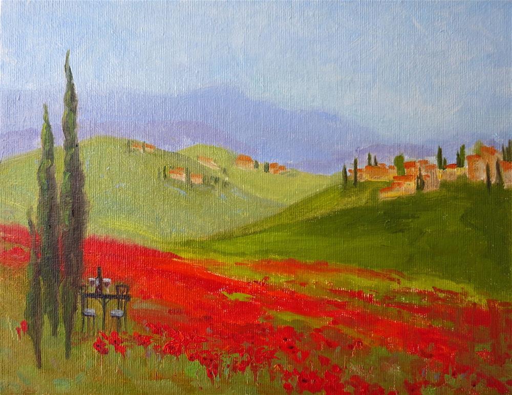 """""""Tuscany Poppy Field"""" original fine art by Elena Balekha"""