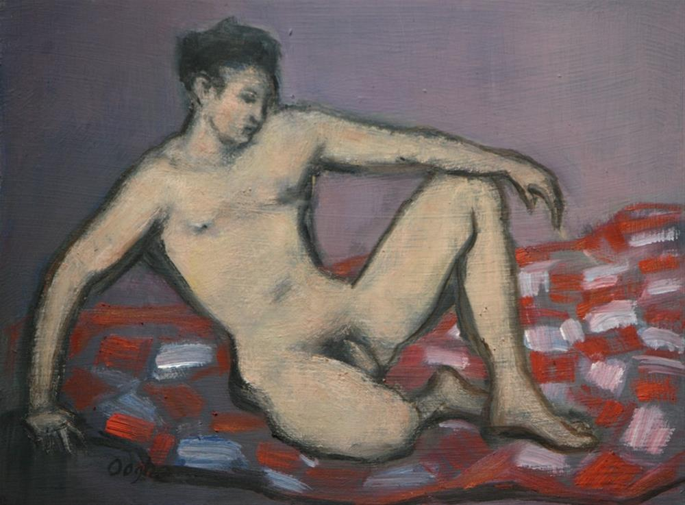 """Male Nude on Red and White Quilt"" original fine art by Angela Ooghe"