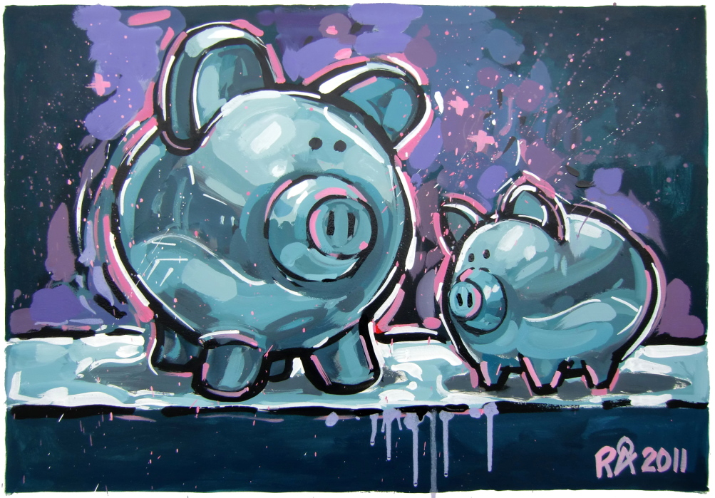 """Playful Ceramic Piggy Banks"" original fine art by Roger Akesson"