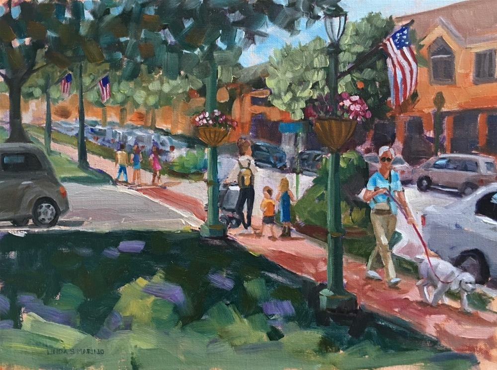 """A Stroll on the Green, Branford Center"" original fine art by Linda Marino"