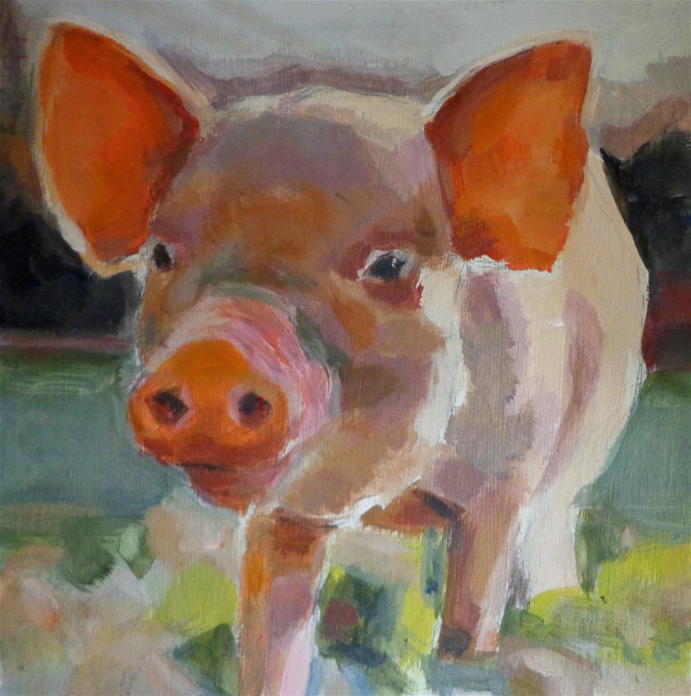 """Baby pig"" original fine art by Maria Z."