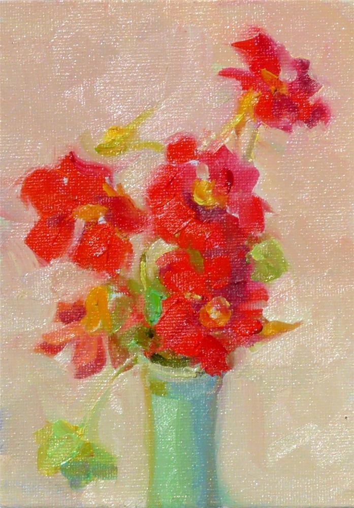 """Nasturtiums,still life,oil on canvas,7x5,price$100"" original fine art by Joy Olney"