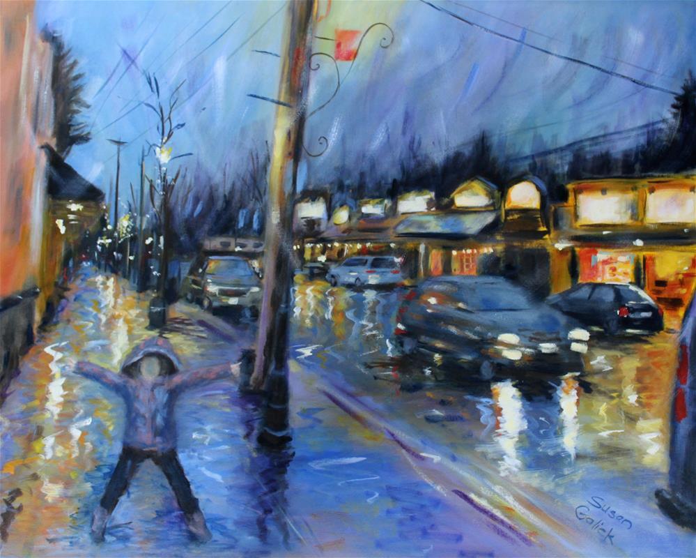 """Rainy Night in Fort Langley"" original fine art by Susan Galick"
