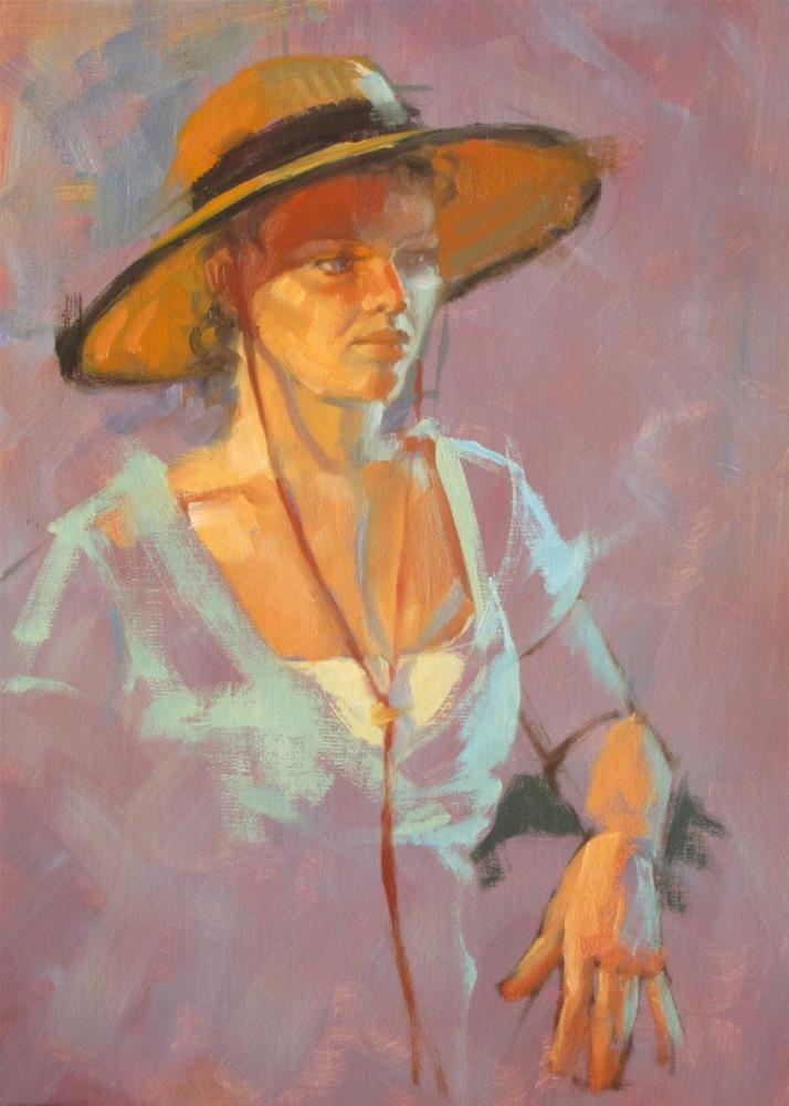 """""""Velvet trimmed hat  14 x 11  oil"""" original fine art by Claudia Hammer"""