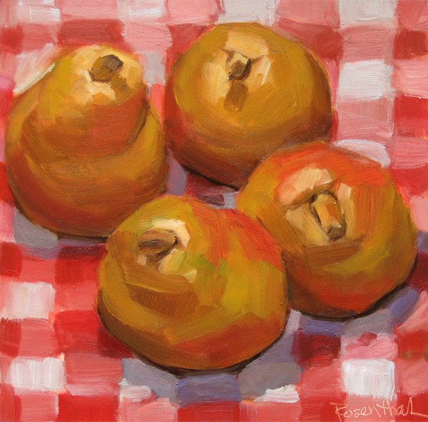 """""""Pears on Red Checkered Cloth"""" original fine art by Robin Rosenthal"""