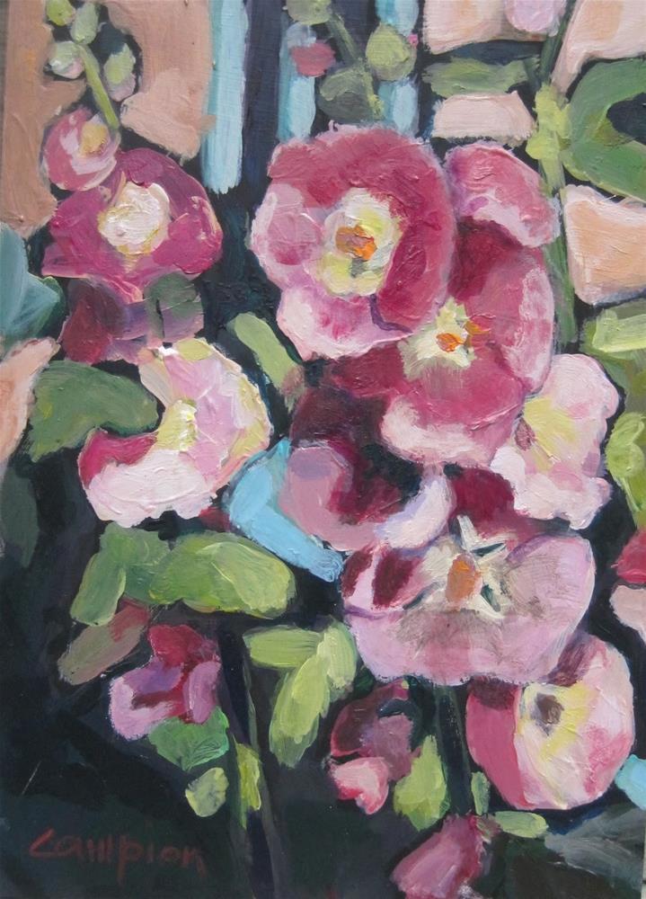 """""""125 Robert's Hollyhocks"""" original fine art by Diane Campion"""