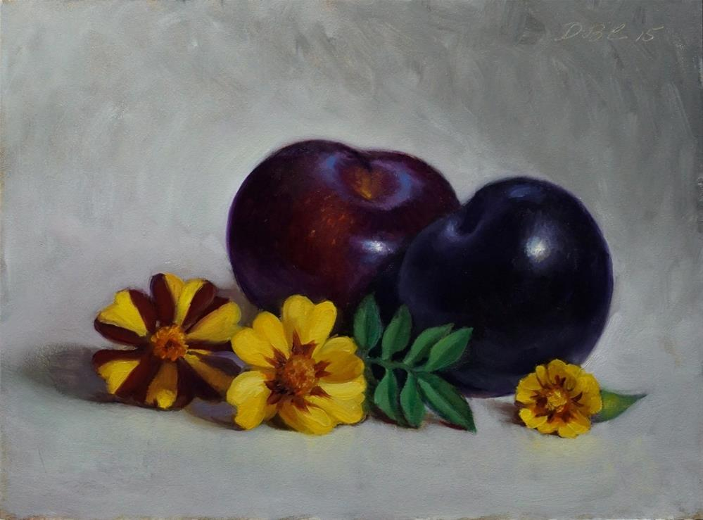 """Plums and Marigolds"" original fine art by Debra Becks Cooper"
