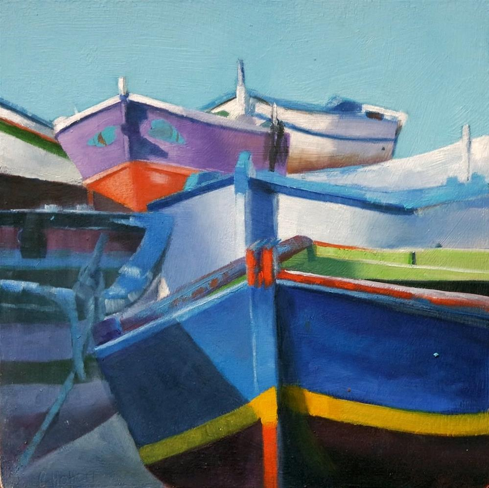 """Cascade of Fishing boats"" original fine art by Cathy Holtom"