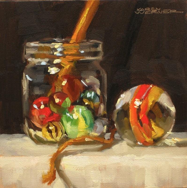 """""""That's A Big Marble"""" original fine art by Karen Werner"""