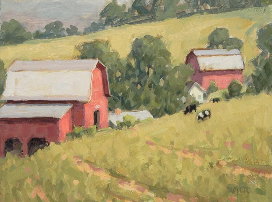 """DAY 7:  Hillside Grazers"" original fine art by Stuart Roper"