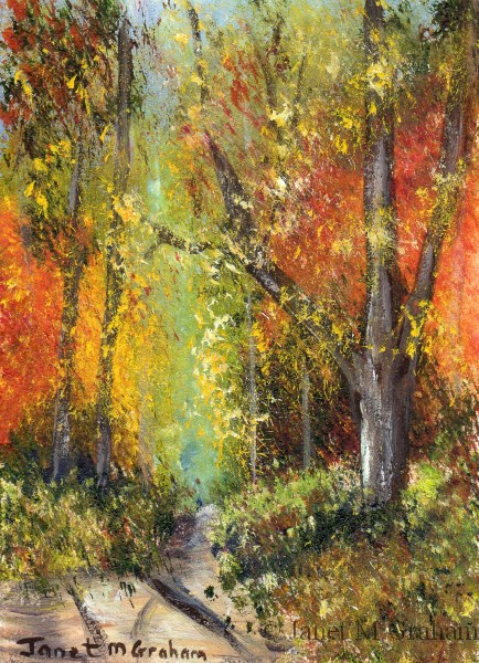 """Autumn Forest ACEO"" original fine art by Janet Graham"