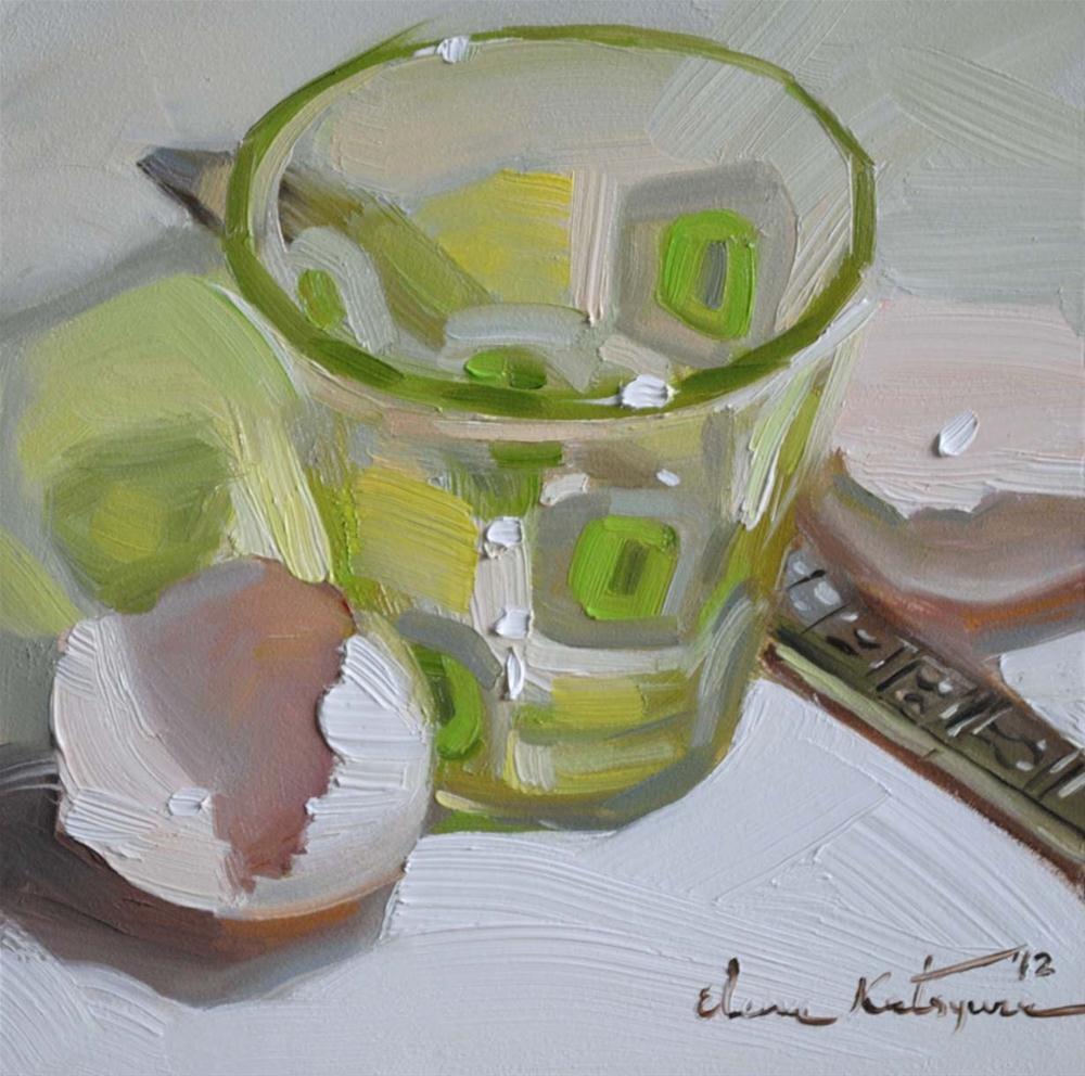 """Green Squares"" original fine art by Elena Katsyura"