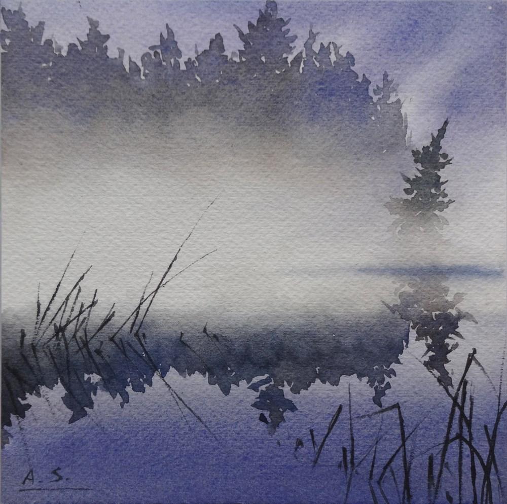 """Marsh Dawn"" original fine art by Arena Shawn"