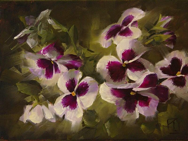"""White Pansy Study 3"" original fine art by Lori Twiggs"