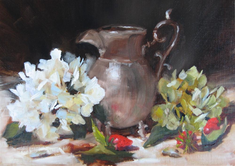 """Hydrangeas & Silver"" original fine art by Pat Fiorello"