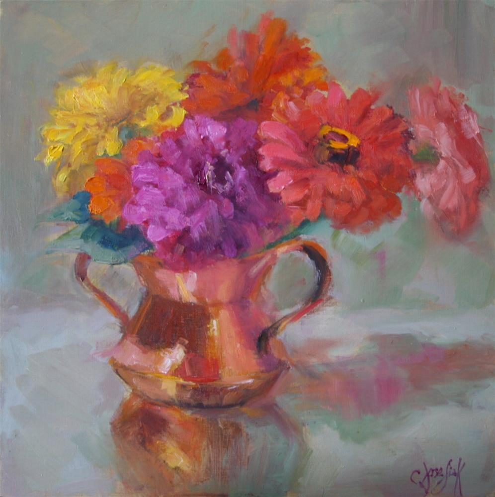 """Zinnias in Copper Pot"" original fine art by Carol Josefiak"