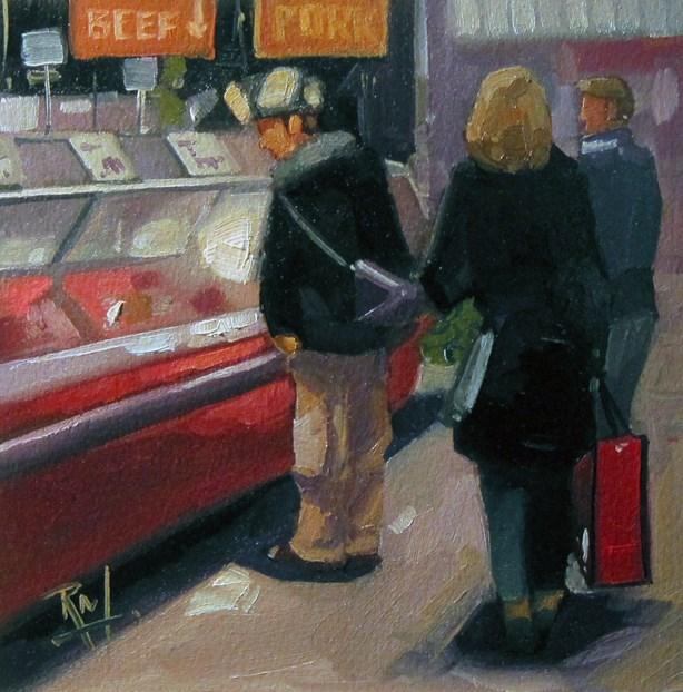 """No 784 Market Shopping"" original fine art by Robin J Mitchell"