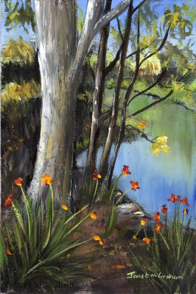"""""""Down by the Lake"""" original fine art by Janet Graham"""
