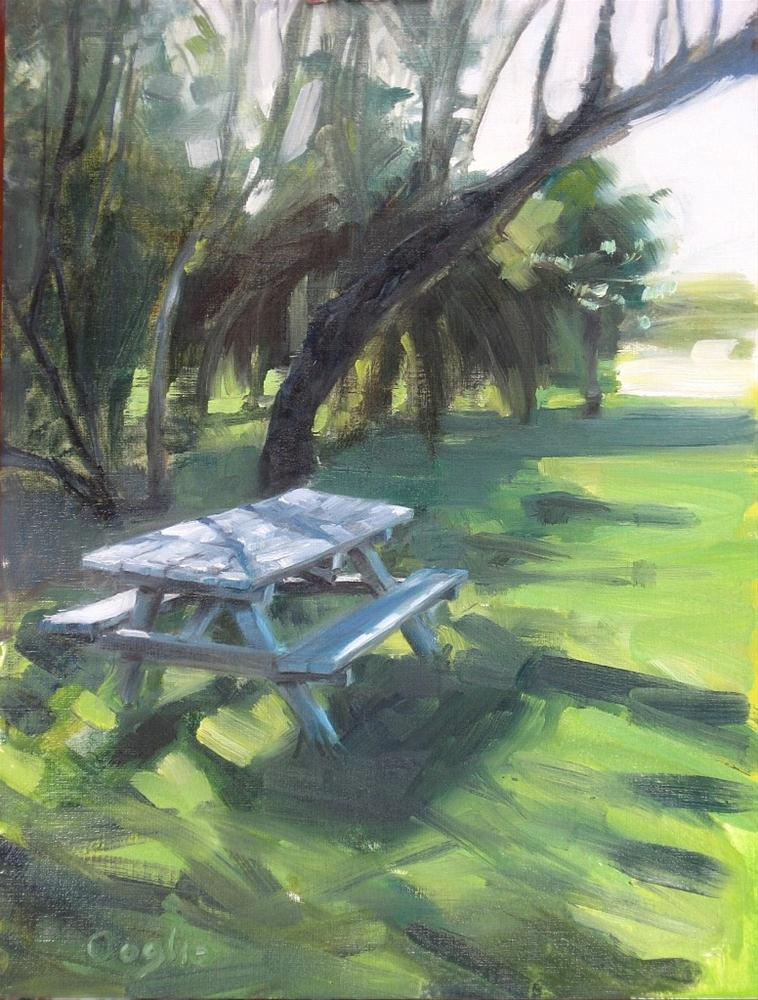"""""""Picnic Table"""" original fine art by Angela Ooghe"""