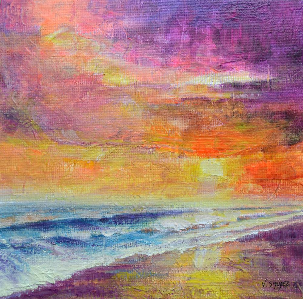 """Setting on the beach"" original fine art by Véronique Saudez"