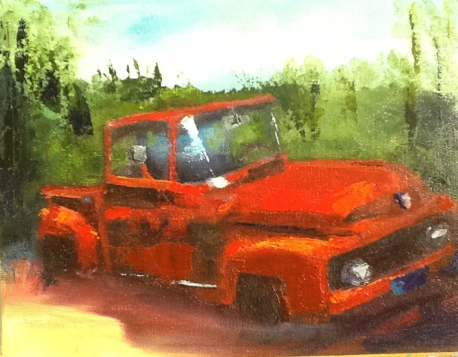 """Red Truck or Planter?"" original fine art by Peggy Schumm"