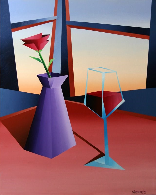 """Mark Webster - Abstract Wine at Sunset #1 Geometric Acrylic Painting"" original fine art by Mark Webster"