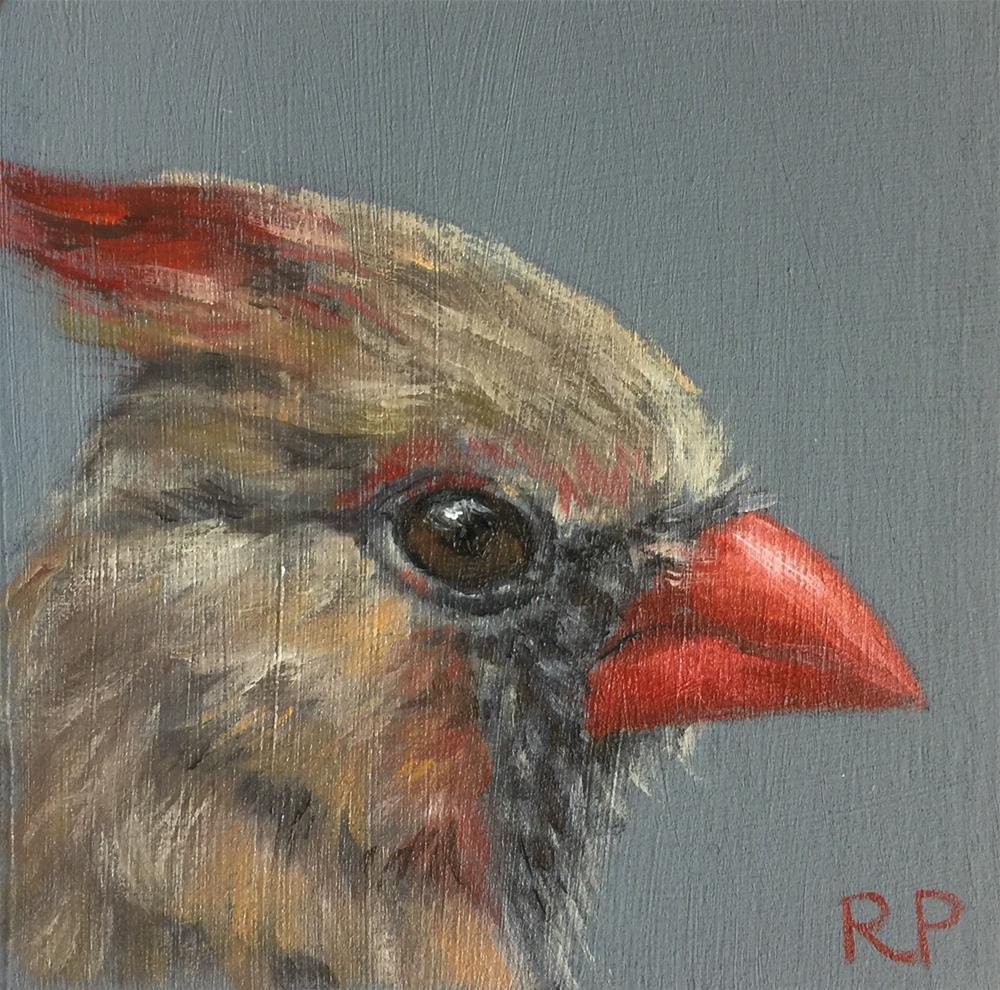 """Female Cardinal"" original fine art by Rhea  Groepper Pettit"