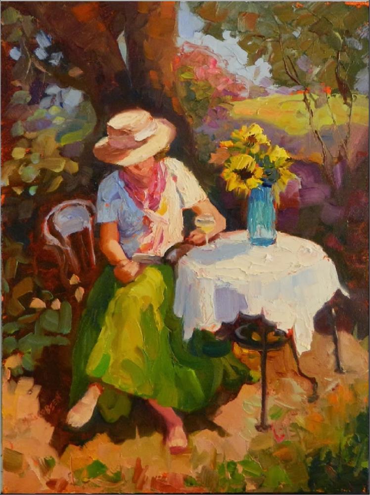 """The Good Book, 12x16, oil on board, books, gardens, simple pleasures, ladies in hats, garden setti"" original fine art by Maryanne Jacobsen"