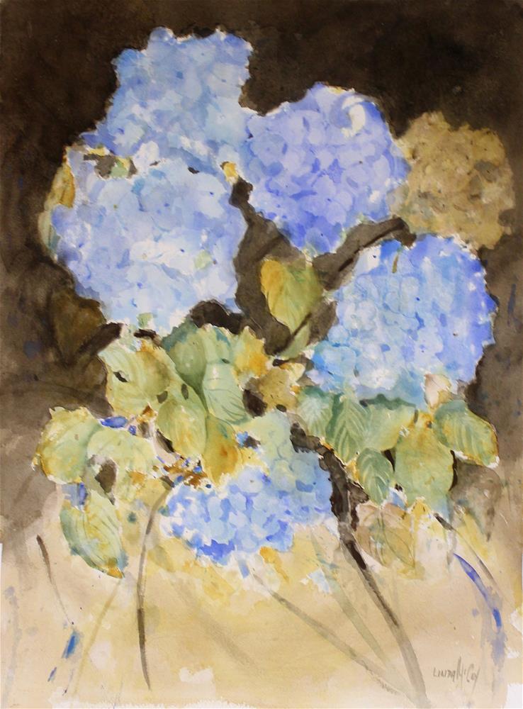 """Indulge, Hydrangea Watercolor"" original fine art by Linda McCoy"